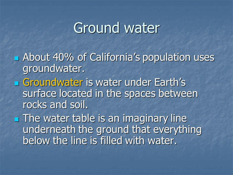 Ground water About 40% of California's population uses groundwater.