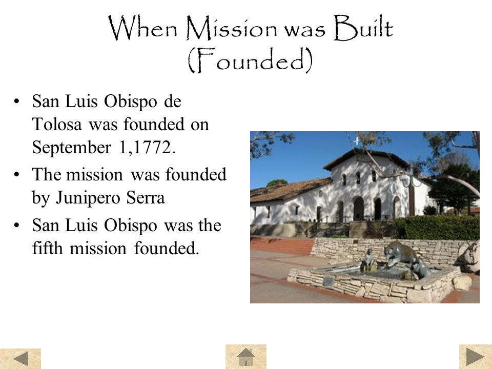 When Mission was Built (Founded)