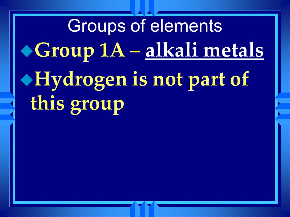 Hydrogen is not part of this group