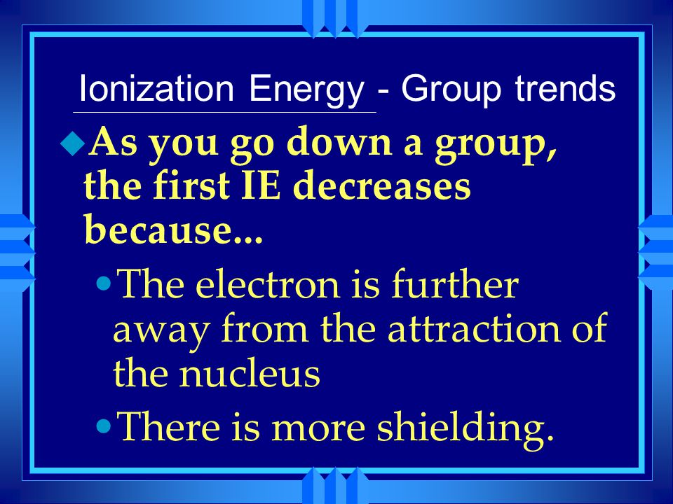 Ionization Energy - Group trends