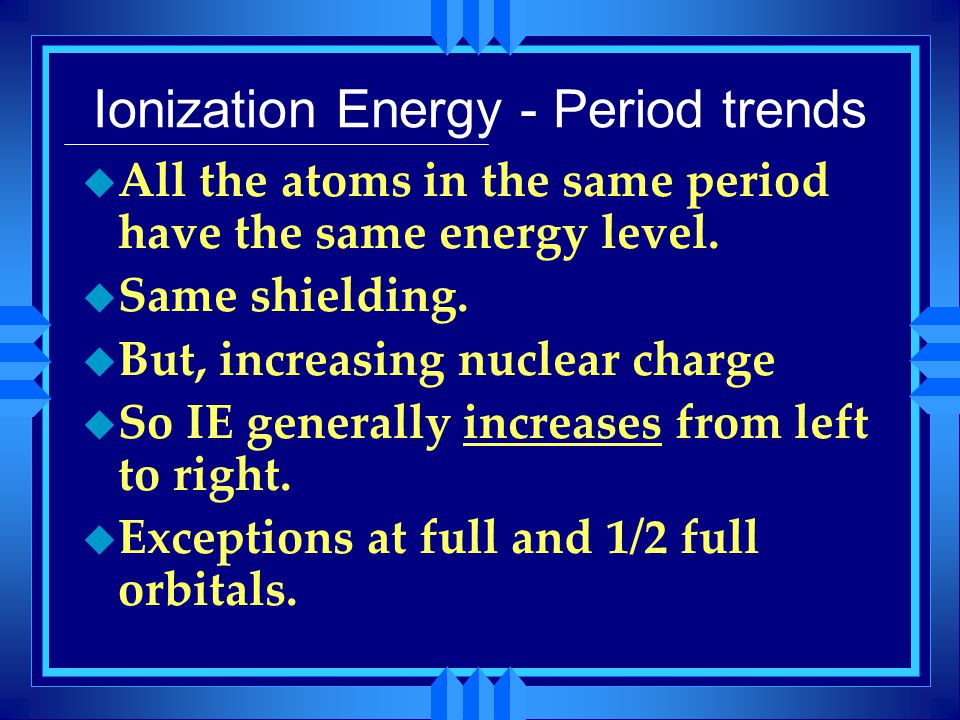 Ionization Energy - Period trends