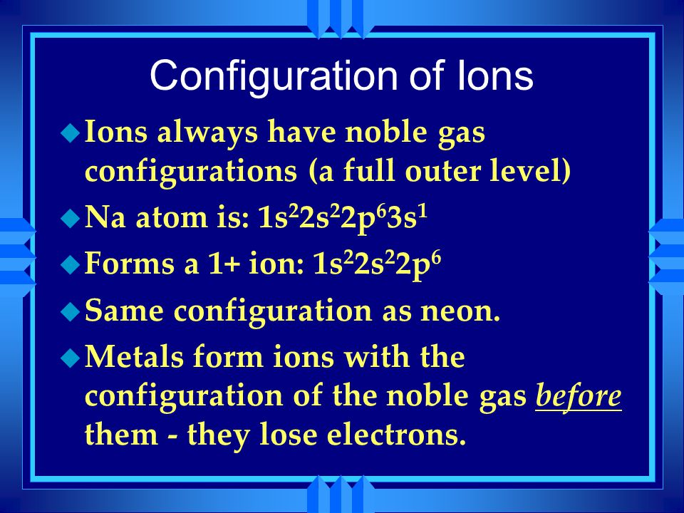 Configuration of Ions Ions always have noble gas configurations (a full outer level) Na atom is: 1s22s22p63s1.