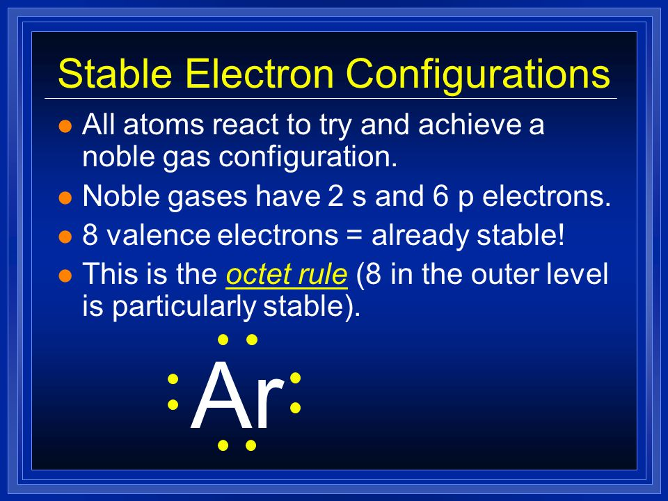 Stable Electron Configurations