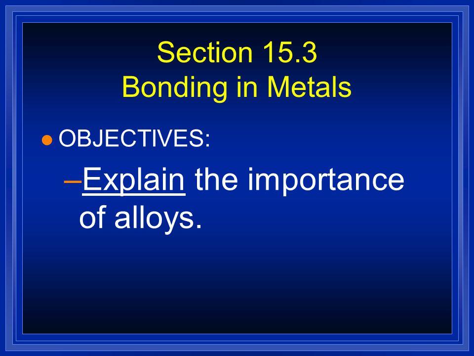 Section 15.3 Bonding in Metals