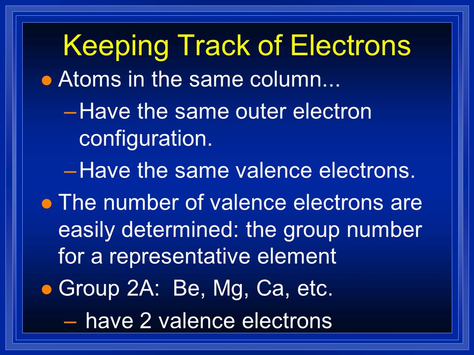 Keeping Track of Electrons