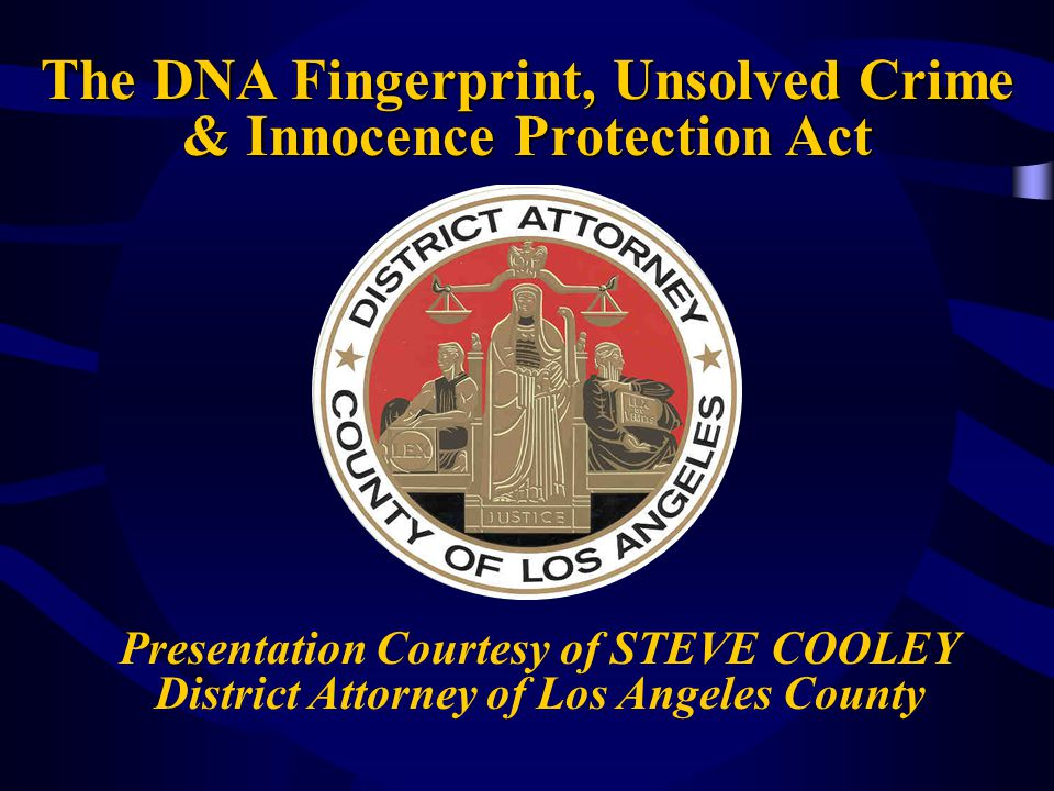 The DNA Fingerprint, Unsolved Crime & Innocence Protection Act