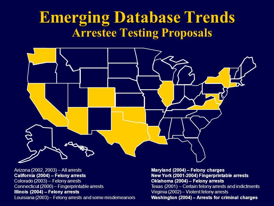 Emerging Database Trends Arrestee Testing Proposals