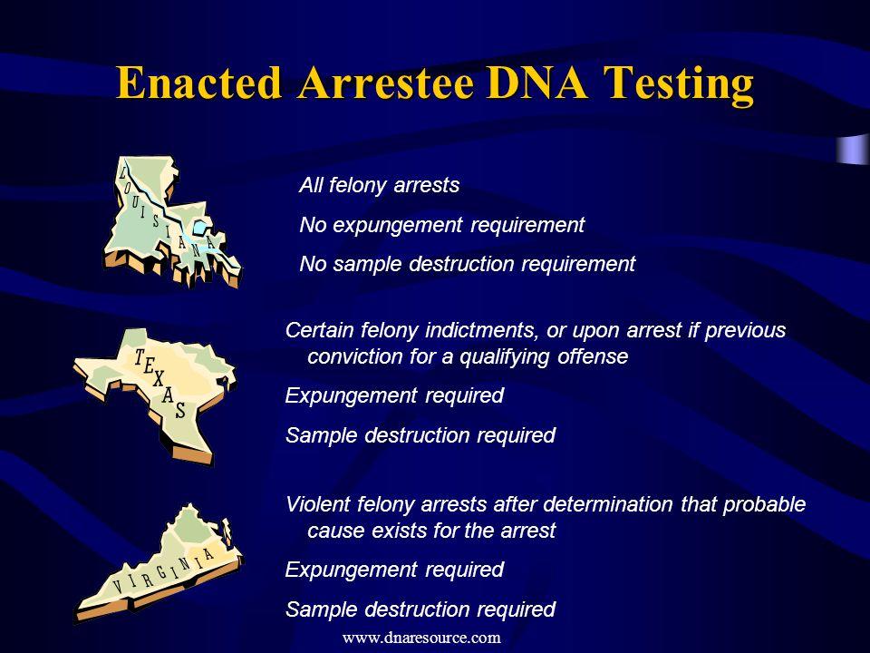 Enacted Arrestee DNA Testing