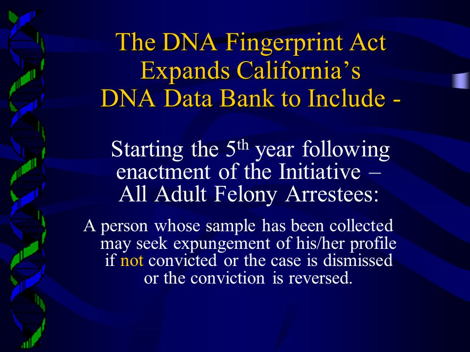 The DNA Fingerprint Act Expands California's DNA Data Bank to Include -