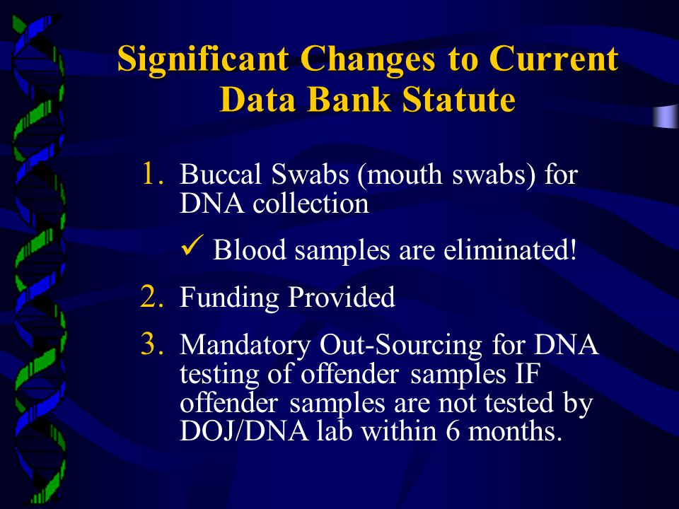 Significant Changes to Current Data Bank Statute