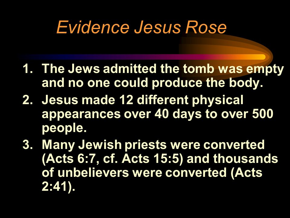 Evidence Jesus Rose The Jews admitted the tomb was empty and no one could produce the body.