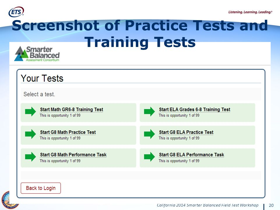 Screenshot of Practice Tests and Training Tests