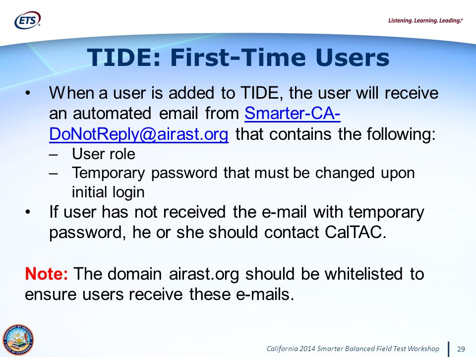 TIDE: First-Time Users