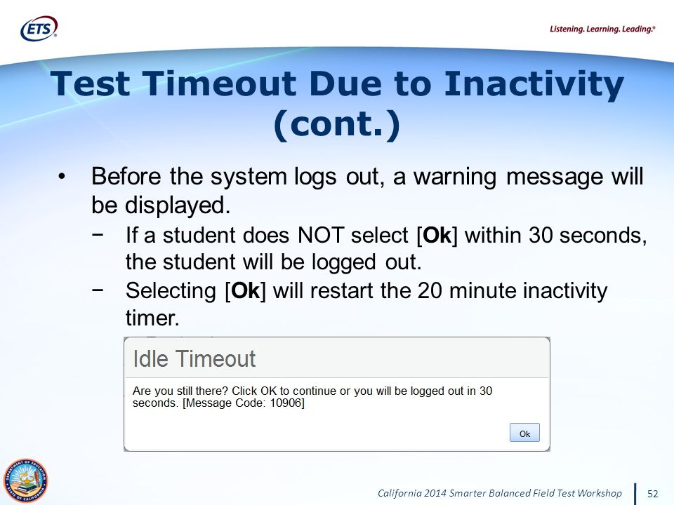 Test Timeout Due to Inactivity (cont.)
