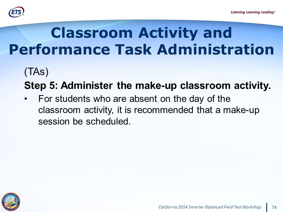 Classroom Activity and Performance Task Administration