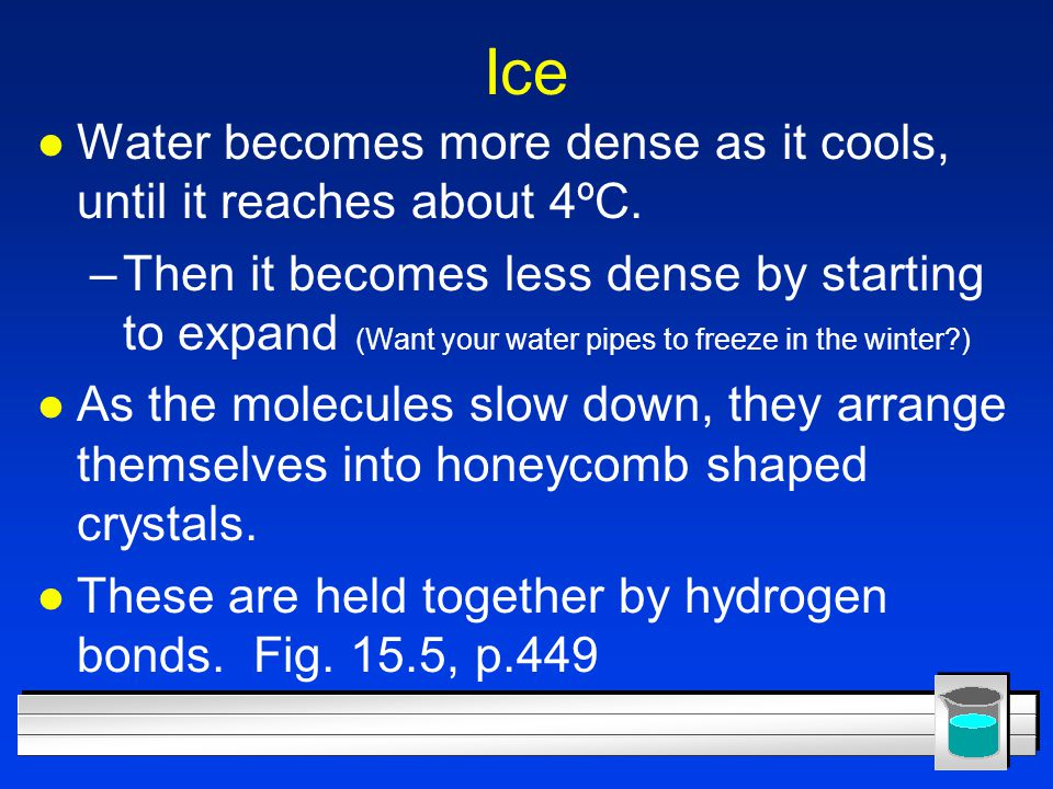 Ice Water becomes more dense as it cools, until it reaches about 4ºC.