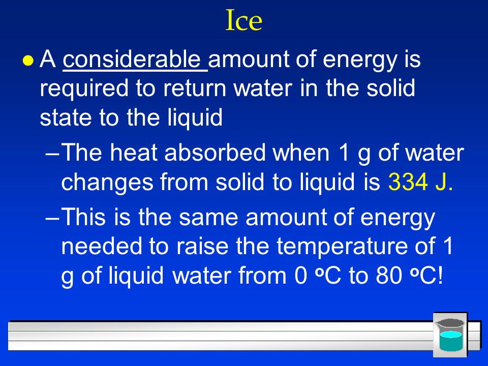 Ice A considerable amount of energy is required to return water in the solid state to the liquid.