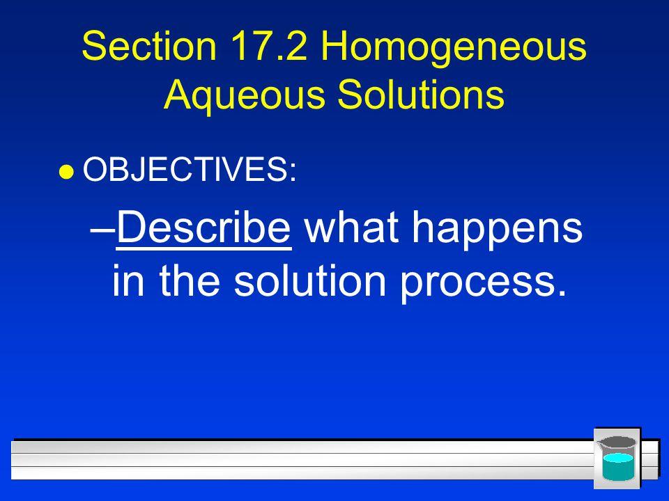 Section 17.2 Homogeneous Aqueous Solutions