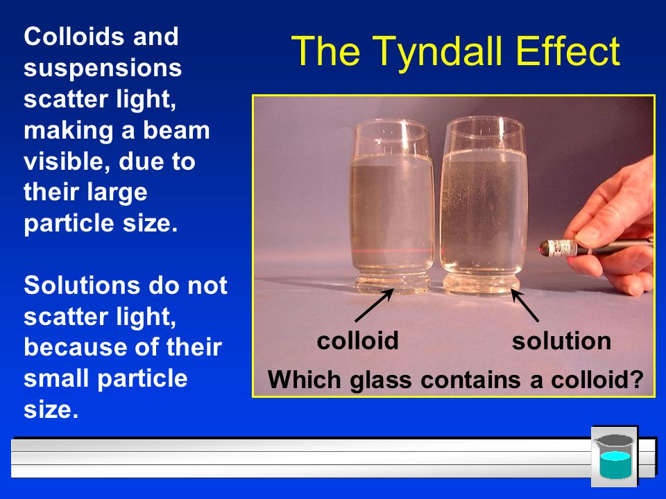 Colloids and suspensions scatter light, making a beam visible, due to their large particle size.