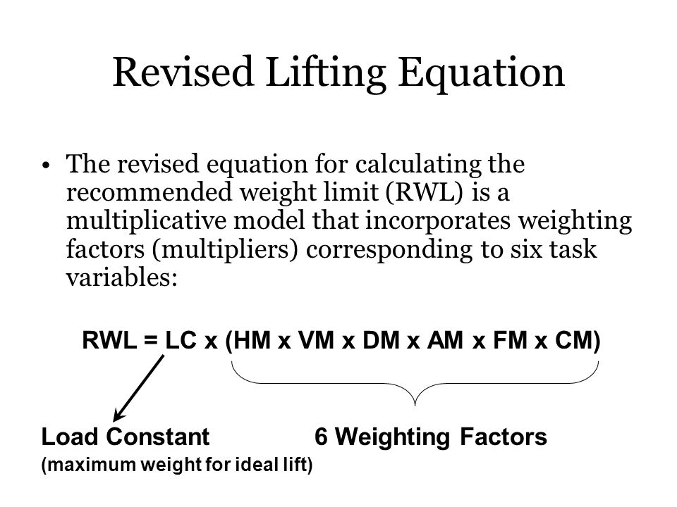 Revised Lifting Equation