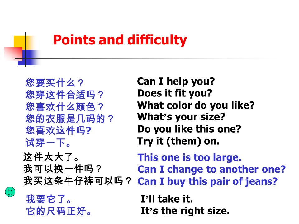 Points and difficulty Can I help you Does it fit you