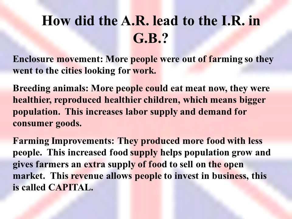 How did the A.R. lead to the I.R. in G.B.