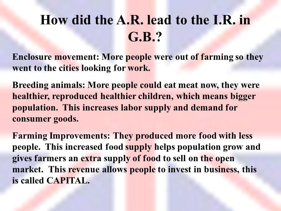 How did the A.R. lead to the I.R. in G.B.