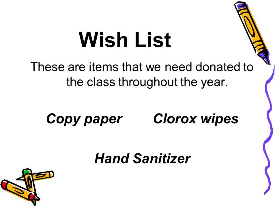Copy paper Clorox wipes