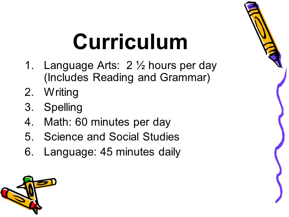 Curriculum Language Arts: 2 ½ hours per day (Includes Reading and Grammar) Writing. Spelling. Math: 60 minutes per day.