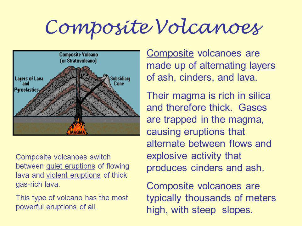 Composite Volcanoes Composite volcanoes are made up of alternating layers of ash, cinders, and lava.
