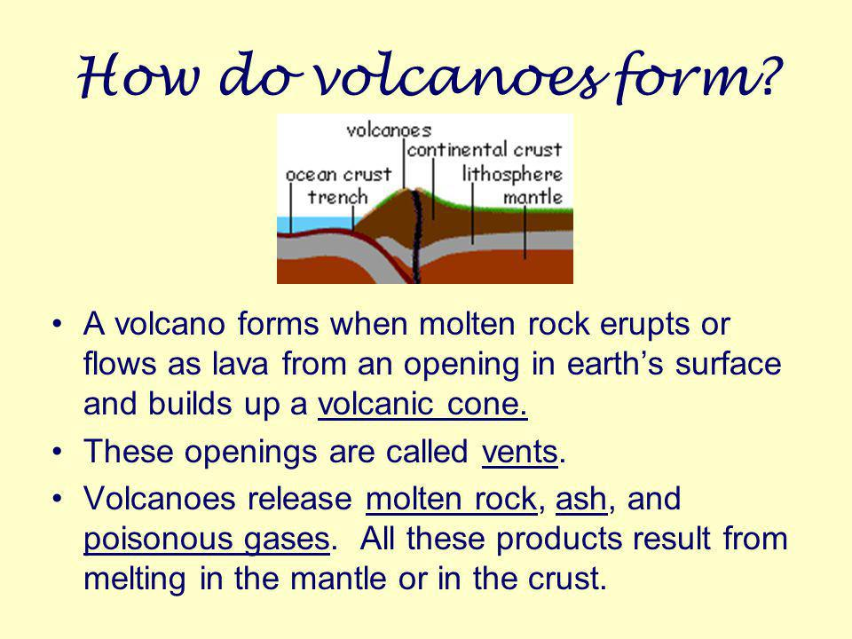 How do volcanoes form A volcano forms when molten rock erupts or flows as lava from an opening in earth's surface and builds up a volcanic cone.