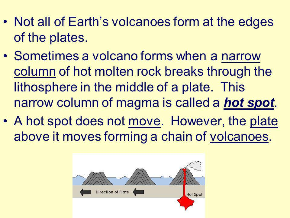 Not all of Earth's volcanoes form at the edges of the plates.