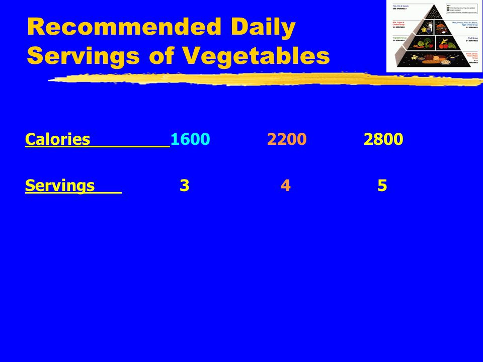 Recommended Daily Servings of Vegetables