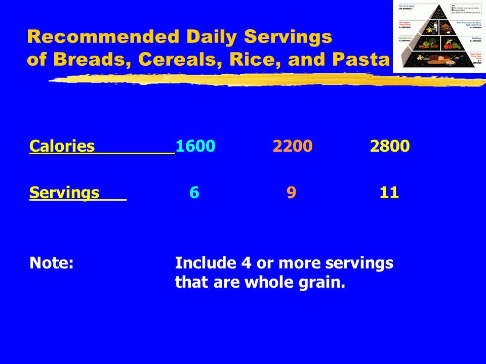 Recommended Daily Servings of Breads, Cereals, Rice, and Pasta