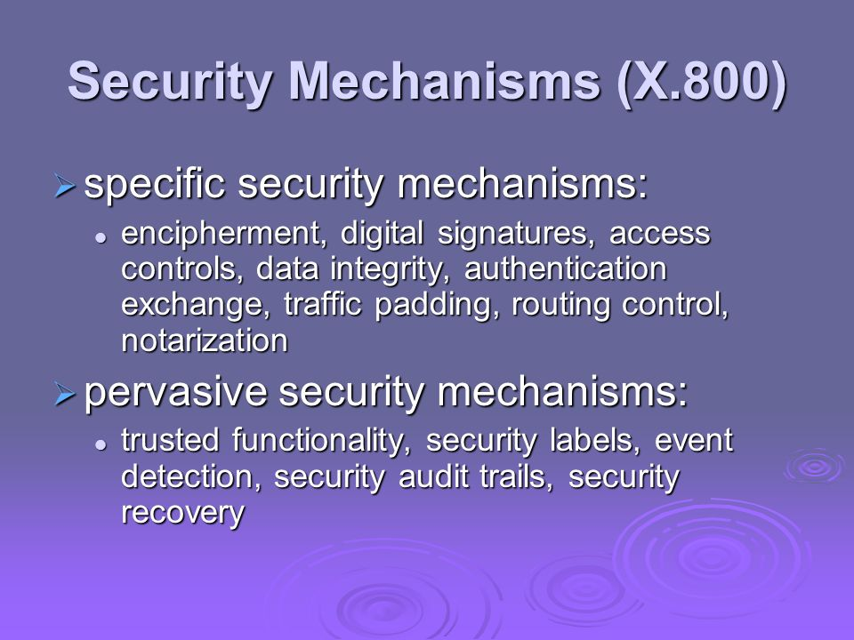 Security Mechanisms (X.800)