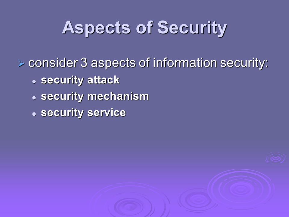 Aspects of Security consider 3 aspects of information security: