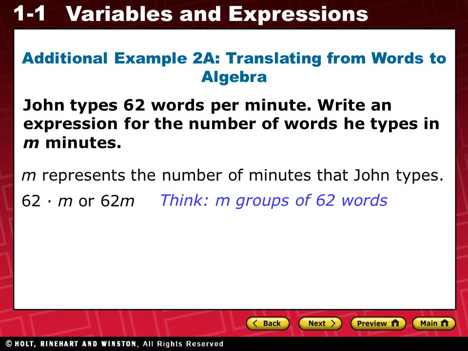 Additional Example 2A: Translating from Words to Algebra