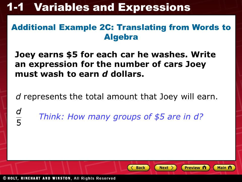 Additional Example 2C: Translating from Words to Algebra