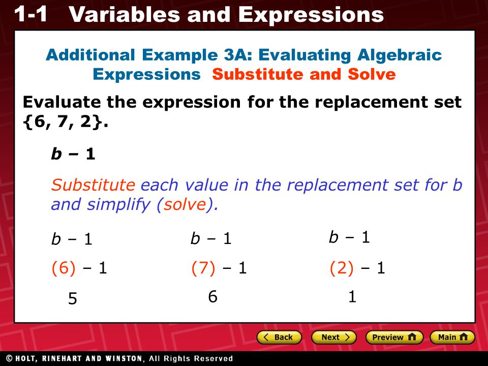 Additional Example 3A: Evaluating Algebraic Expressions Substitute and Solve