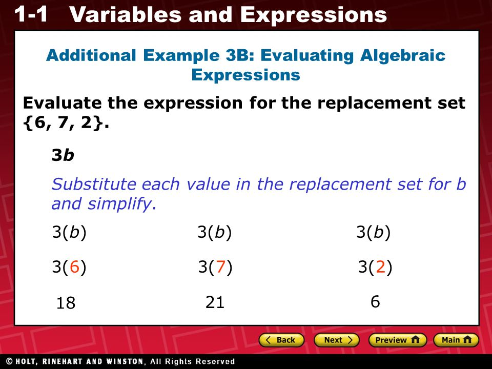 Additional Example 3B: Evaluating Algebraic Expressions