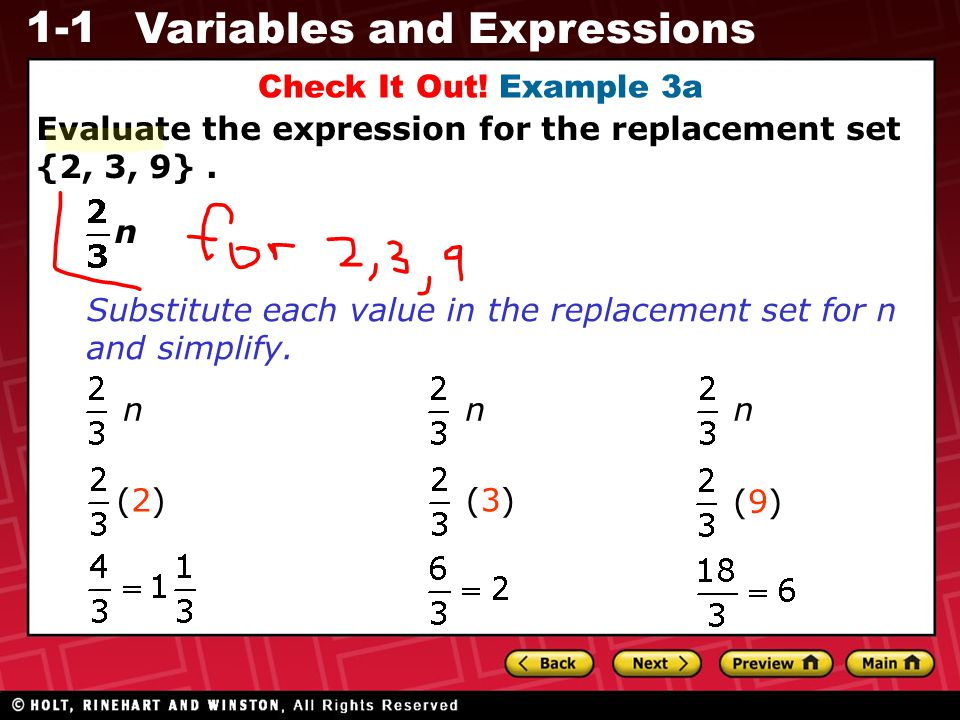Check It Out! Example 3a Evaluate the expression for the replacement set {2, 3, 9} . n.