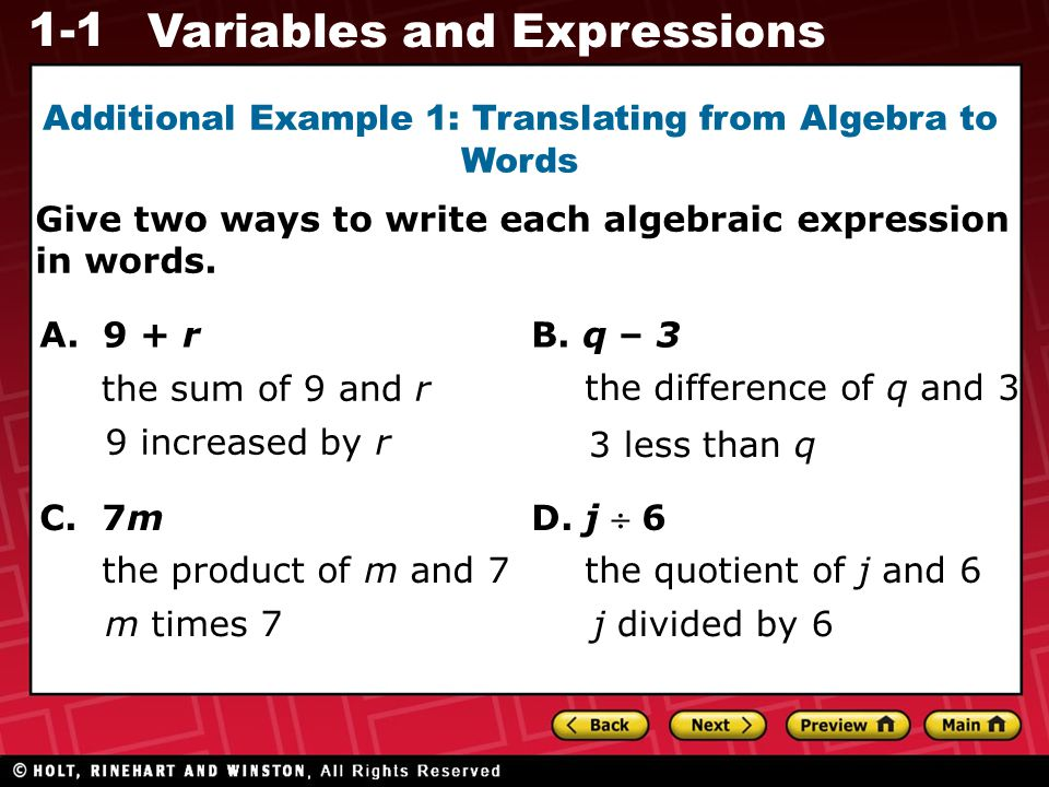 Additional Example 1: Translating from Algebra to Words