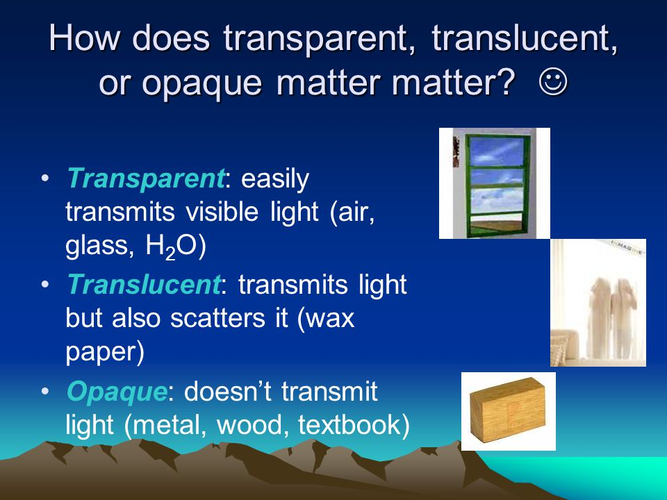 How does transparent, translucent, or opaque matter matter 