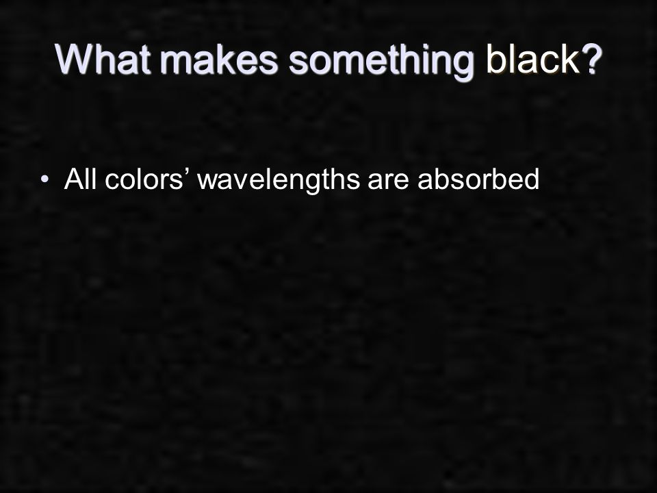 What makes something black