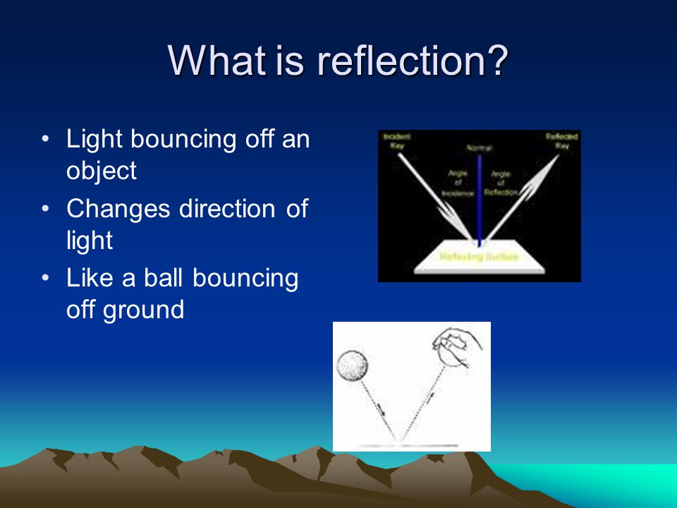 What is reflection Light bouncing off an object