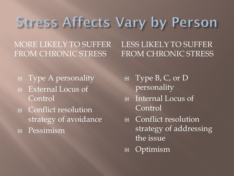 Stress Affects Vary by Person