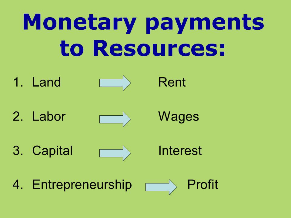 Monetary payments to Resources: