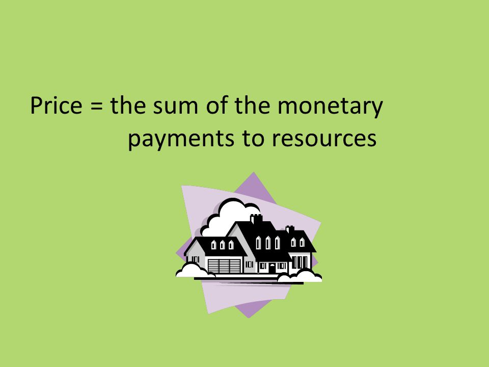 Price = the sum of the monetary payments to resources