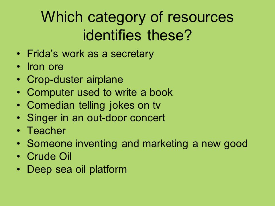 Which category of resources identifies these