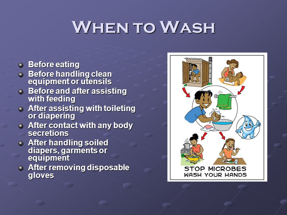 When to Wash Before eating Before handling clean equipment or utensils